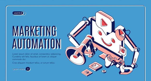 Marketing automatizado de banner web isométrico. vector gratuito
