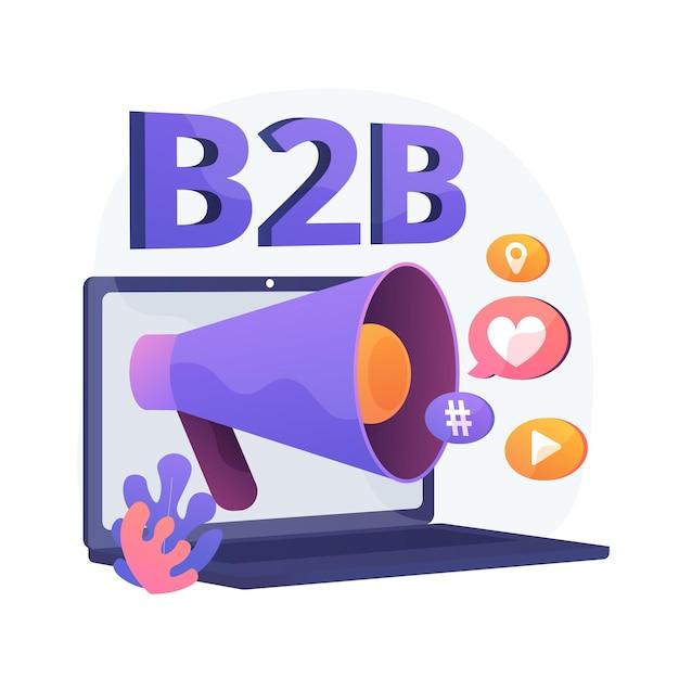 Marketing b2b. colaboración empresarial, smm, notificación por internet. elemento de diseño plano de campaña promocional online. anuncios de redes sociales. vector gratuito