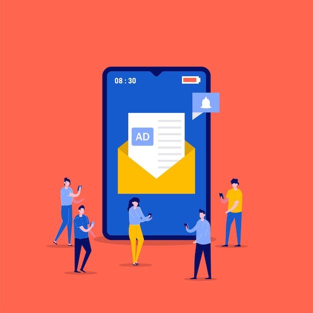 Marketing por correo electrónico móvil, promoción de boletines, campaña publicitaria, conceptos de promoción digital con personajes. personas que envían un mensaje de ad. Vector Premium