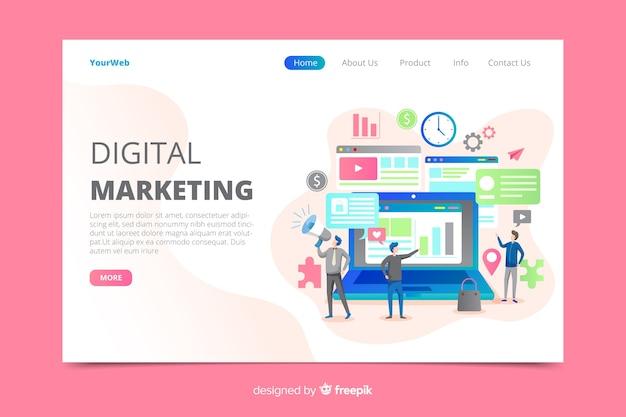 Marketing digital aterrizando página social. vector gratuito