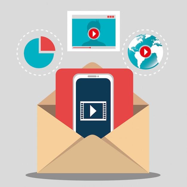 Marketing digital y comercio electrónico vector gratuito