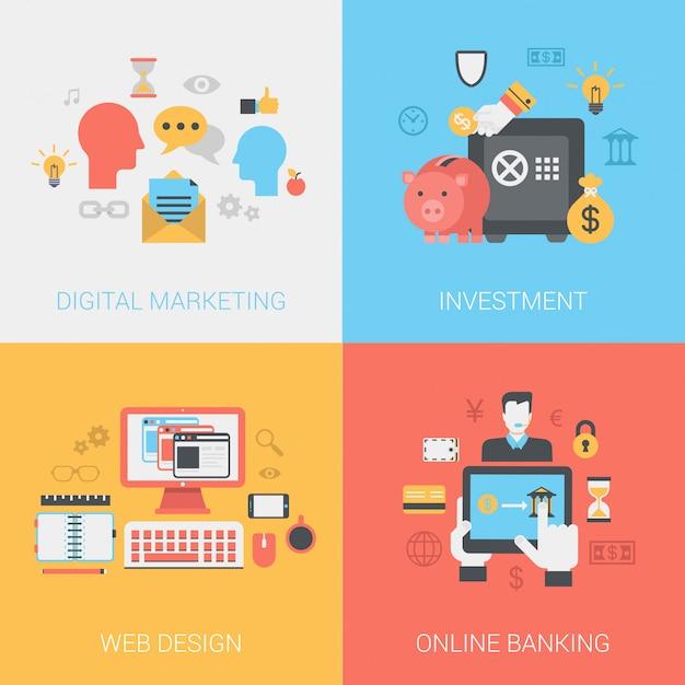 Marketing digital, inversiones, diseño web, conjunto de iconos de banca en línea. vector gratuito