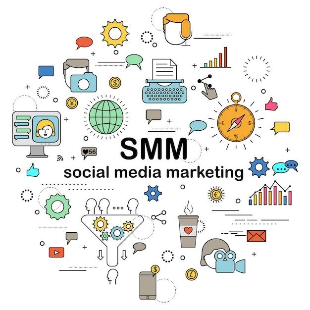 Marketing de medios sociales Vector Premium