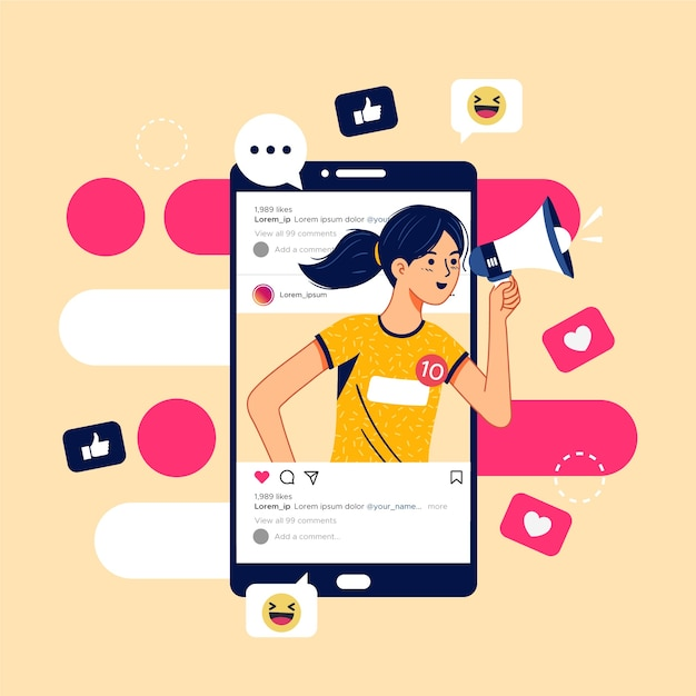 Marketing en redes sociales en concepto móvil vector gratuito