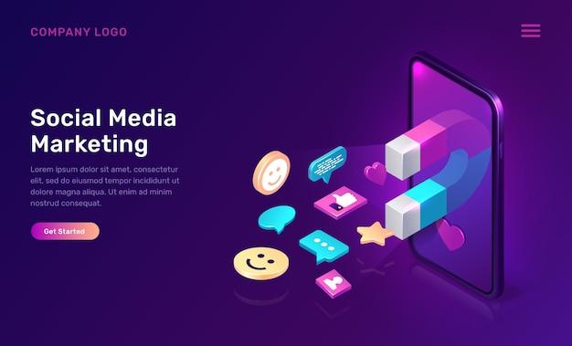 Marketing en redes sociales, mms viral isométrico vector gratuito