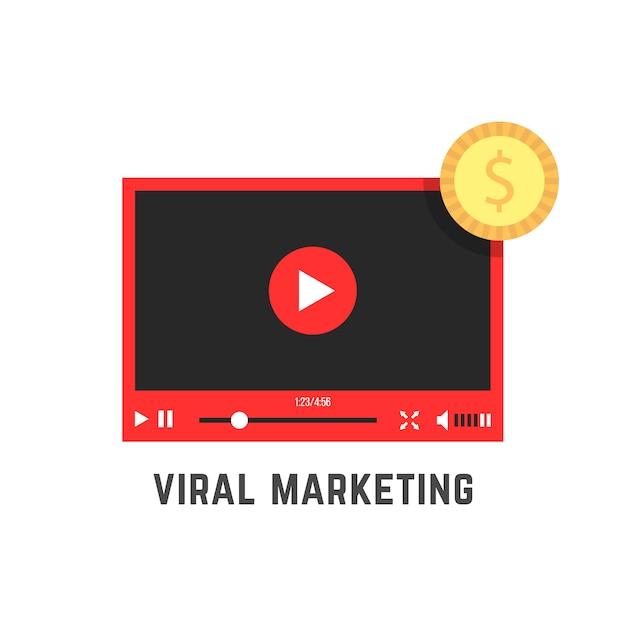 Marketing viral con reproductor de video rojo. Vector Premium