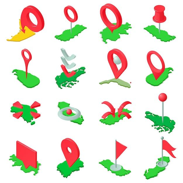 Marque el conjunto de iconos del mapa, estilo isométrico Vector Premium