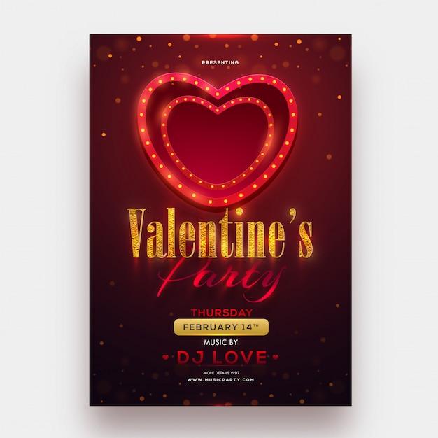 Marquesina iluminando la forma del corazón con el texto brillante de valentine's da Vector Premium