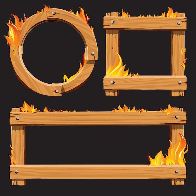 Marrón, madera, abrasador, marco, conjunto | Descargar Vectores Premium