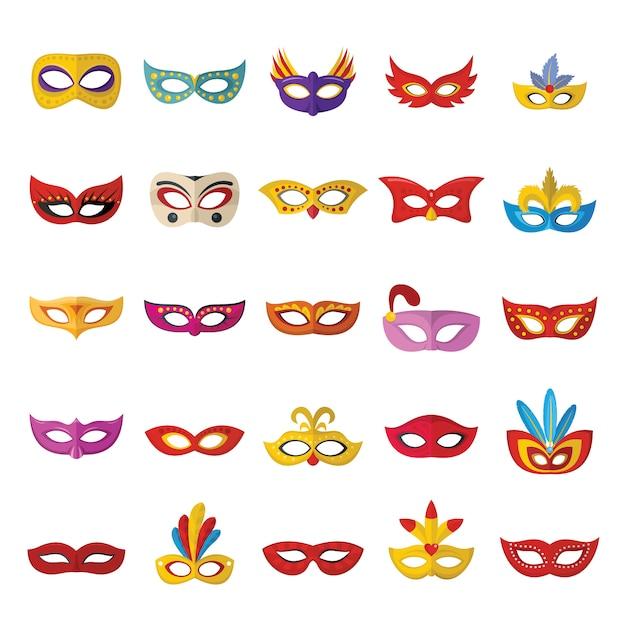 Máscara de carnaval conjunto de iconos venecianos Vector Premium