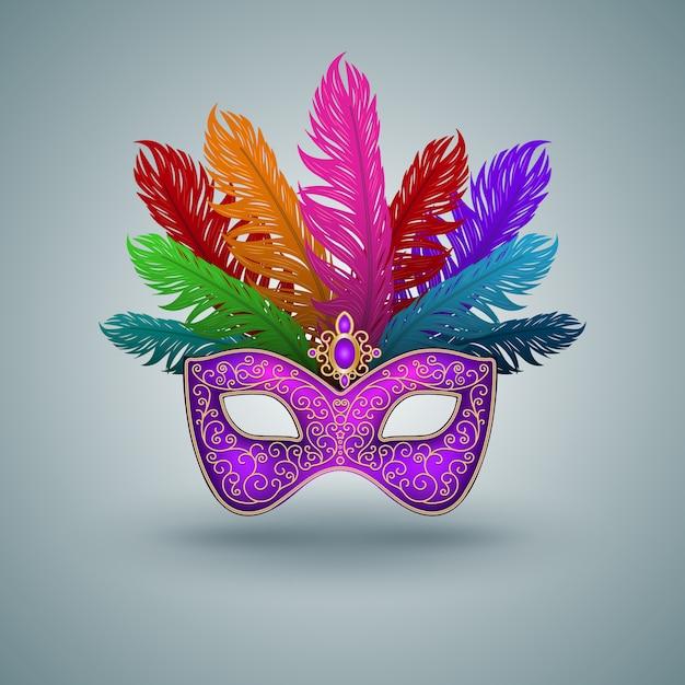 Máscara de carnaval con pluma Vector Premium