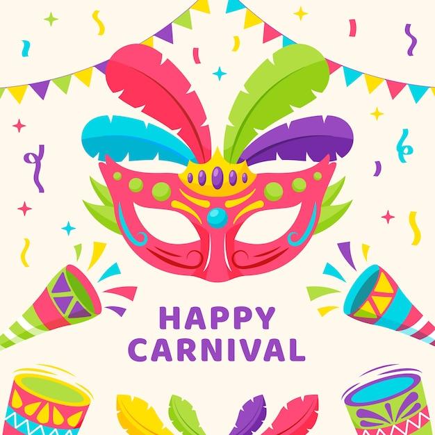 Máscara colorida con plumas feliz festival vector gratuito