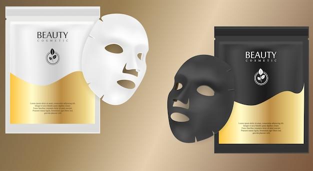 Máscara cosmética facial en blanco y negro Vector Premium