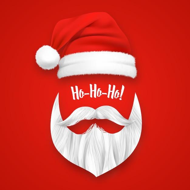 Máscara realista de navidad de santa claus vector gratuito