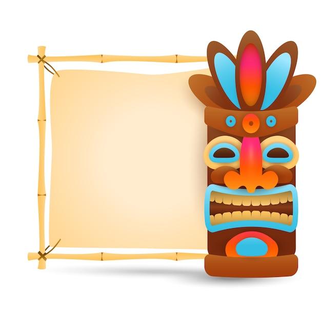 Máscara tribal hawaiana y letrero de bambú. vector gratuito