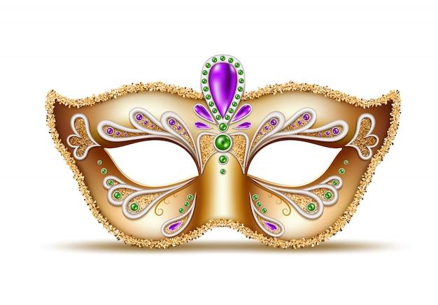 Máscara veneciana realista de carnaval, decoración de carnaval de brasil Vector Premium