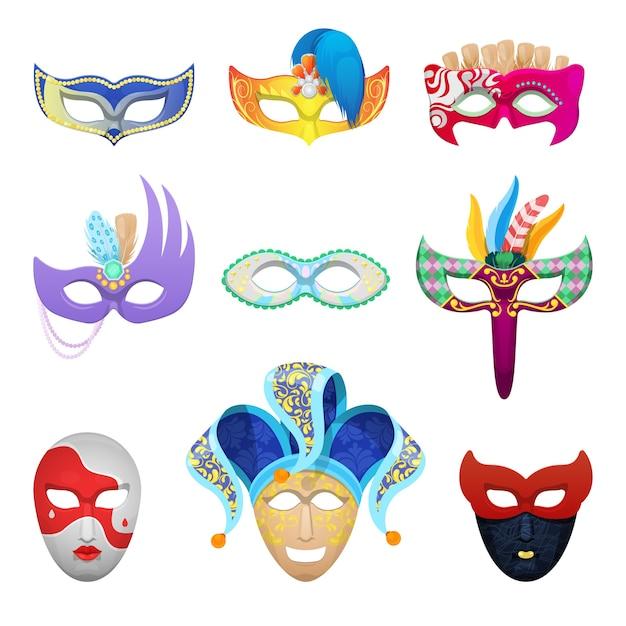 Máscaras de carnaval veneciano para mascarada tradicional aislado Vector Premium