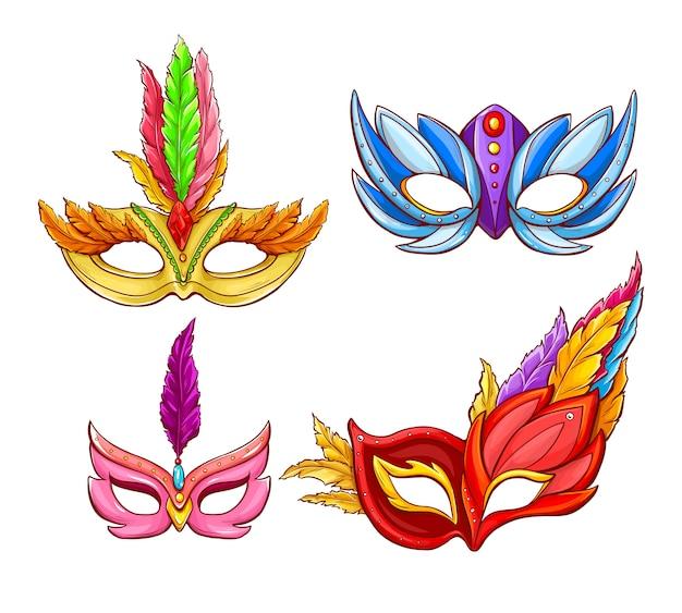Máscaras faciales brillantes para carnavales venecianos. vector gratuito