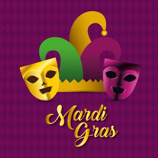 Máscaras de fiesta con sombrero para la celebración del mardi gras vector gratuito