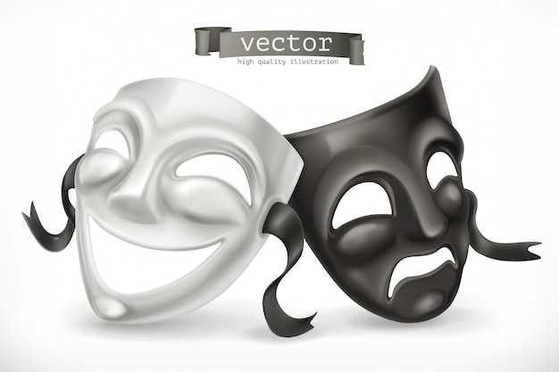 Máscaras teatrales en blanco y negro. comedia y tragedia, icono 3d Vector Premium