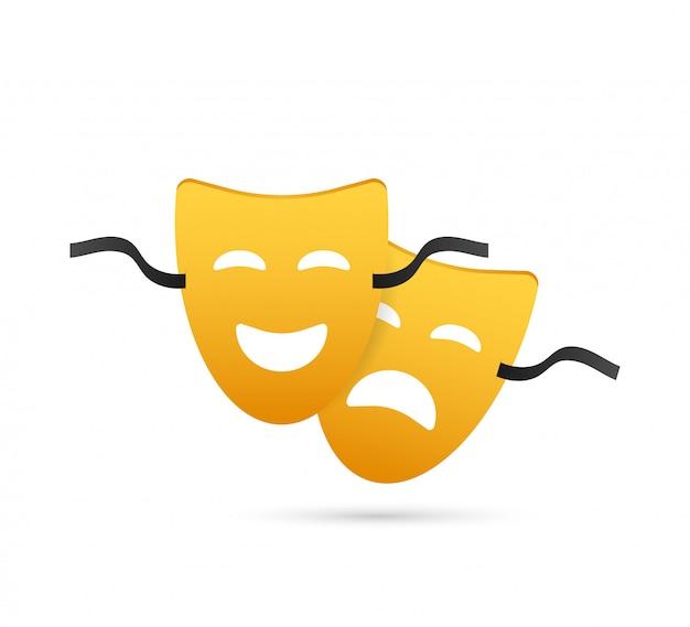Máscaras teatrales de comedia y tragedia. Vector Premium