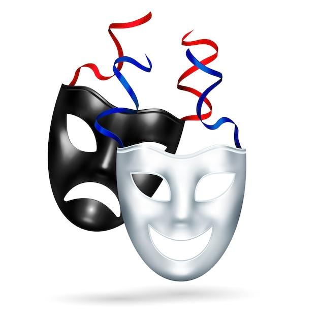 Máscaras de tragedia de comedia realista vector gratuito