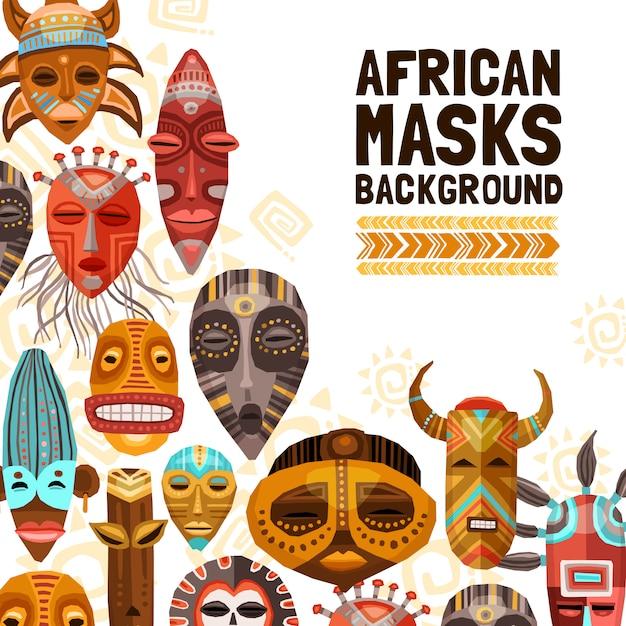 Máscaras tribales étnicas africanas ilustración vector gratuito