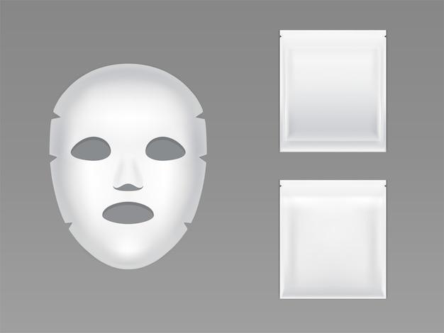 Mascarilla elástica en blanco en la bolsa de plástico sellada blanca vector gratuito