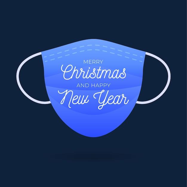 Mascarilla médica azul con texto feliz navidad. tendencia de saludos navideños. brote de coronavirus. concepto de salud. Vector Premium