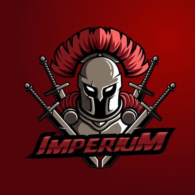Mascot logo spartan con espada typo Vector Premium