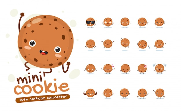 Mascot set de la mini galleta. veinte poses de mascota. ilustración aislada Vector Premium