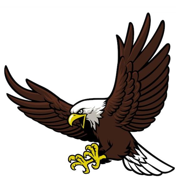 Mascota águila volando Vector Premium