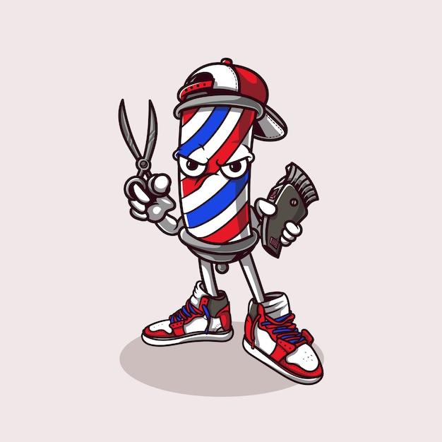 Mascota de la barbería Vector Premium