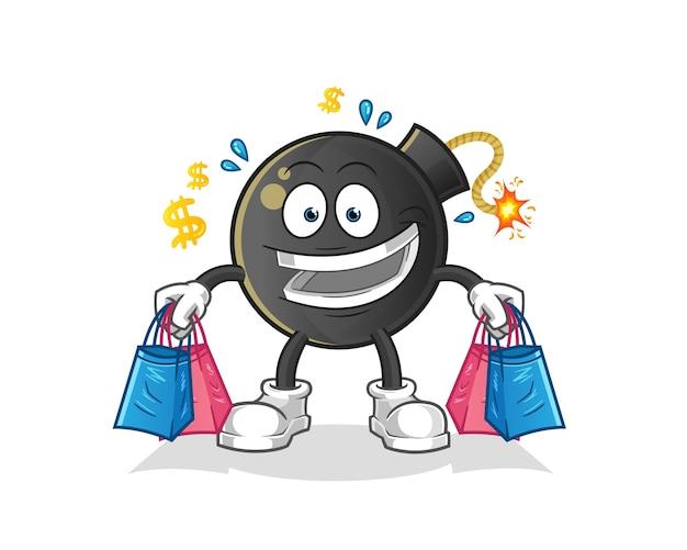 Mascota de bomba shoping. dibujos animados Vector Premium