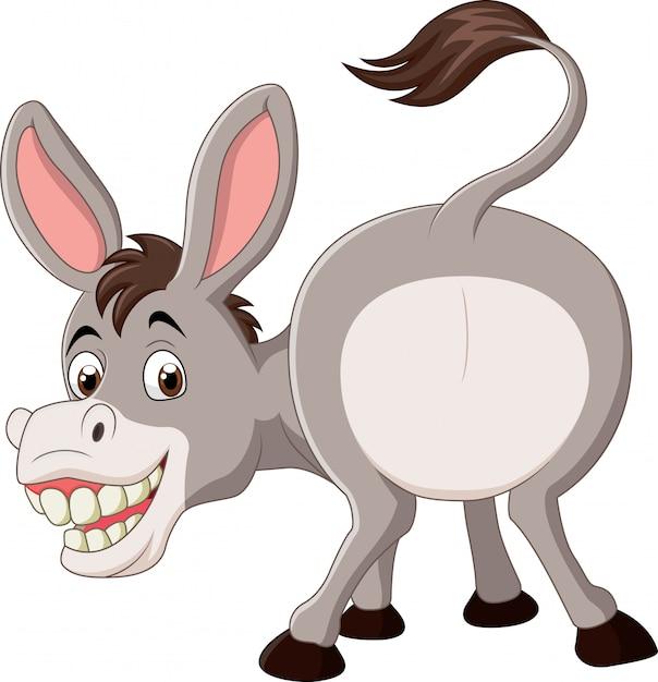 Mascota burro divertido de dibujos animados | Vector Premium
