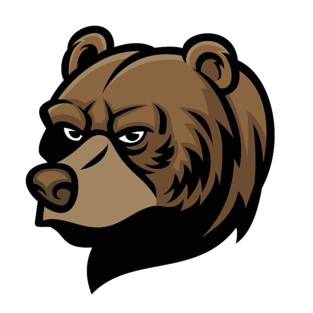 Mascota de cabeza de oso aislada en blanco Vector Premium