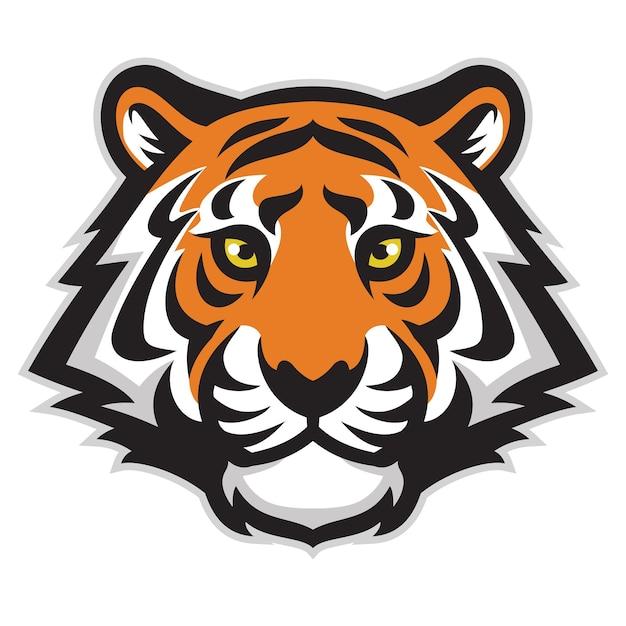 Mascota de cabeza de tigre aislado en blanco Vector Premium