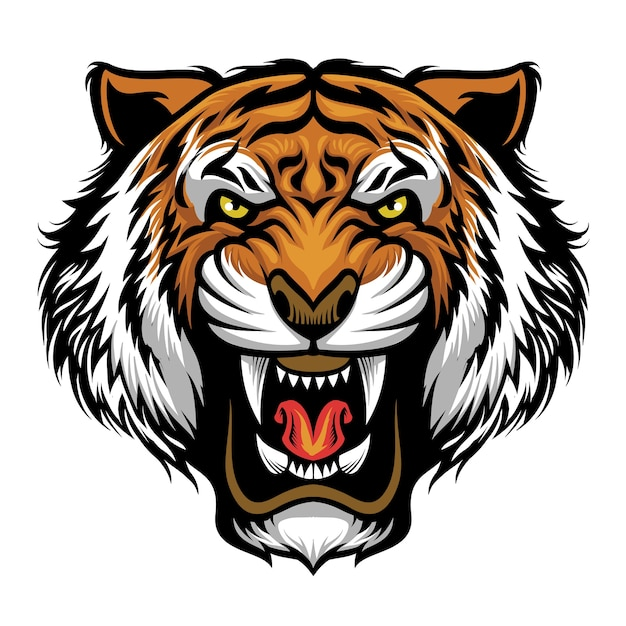 Mascota de cabeza de tigre enojado aislado en blanco Vector Premium