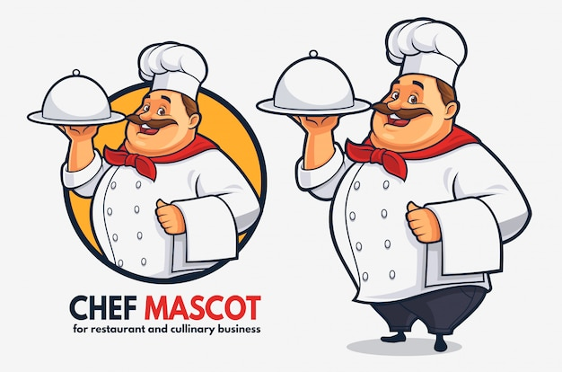 Mascota divertida del cocinero para el negocio y el restaurante culinarios, mascota gorda del cocinero Vector Premium