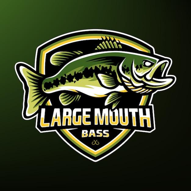 Mascota del esport de la pesca de lubina Vector Premium