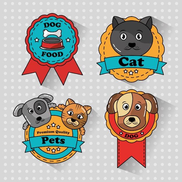 Mascota gato y perro medalla insignias iconos vector gratuito