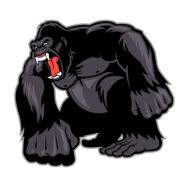 Mascota gorila grande Vector Premium