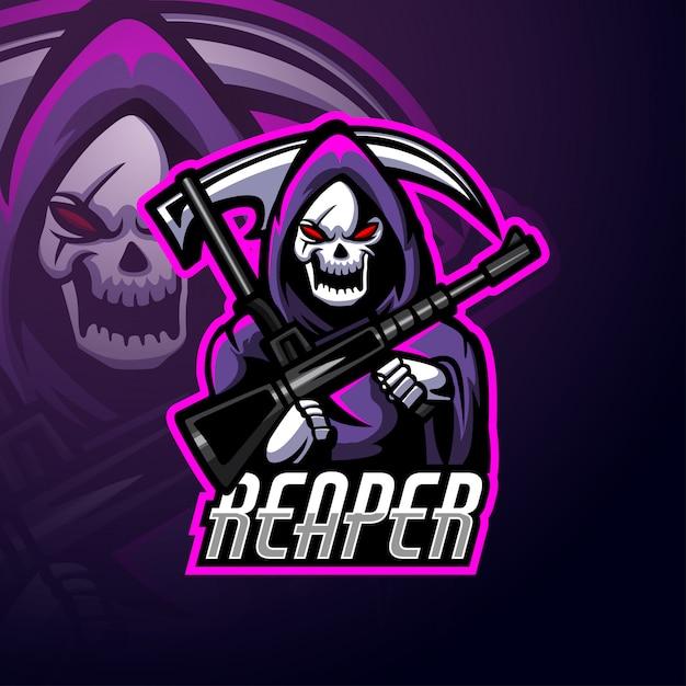 Mascota del logo de reaper esport Vector Premium