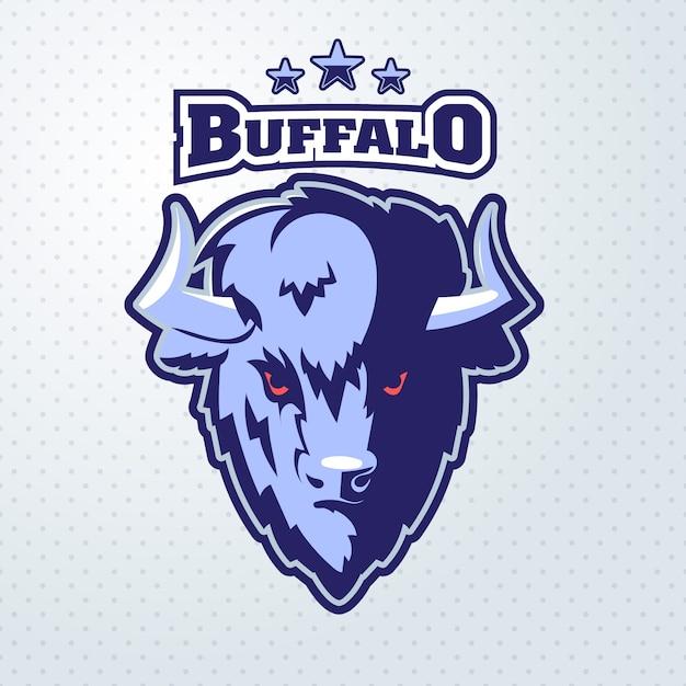Mascota del logotipo de buffalo head Vector Premium
