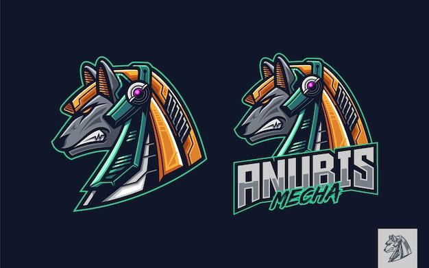 Mascota del logotipo de la cabeza mecánica de anubis Vector Premium