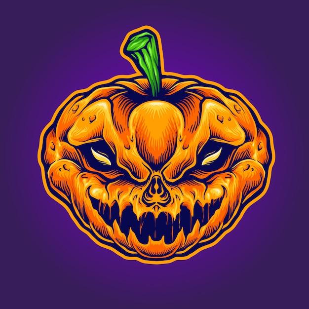 Mascota del monstruo del cráneo de halloween Vector Premium