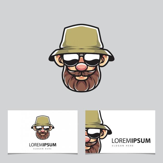 Mascota de pescador y tarjetas de visita Vector Premium