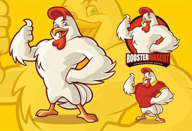 Mascota de pollo para comida o negocios agrícolas con evaluación opcional. Vector Premium