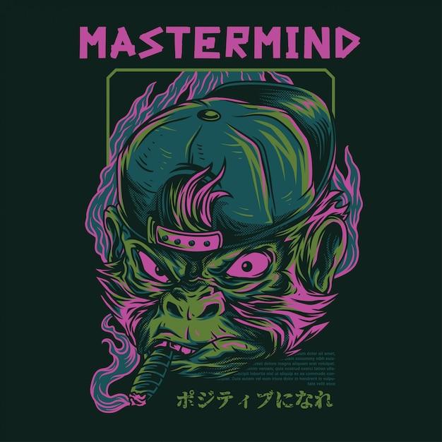 Mastermind monkey illustration Vector Premium