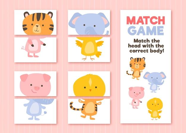 Match juego para niños ilustración vector gratuito